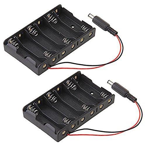 Pixnor Boîte de batterie 2pcs batterie professionnel titulaire case à 6 * piles AA avec fil conduit