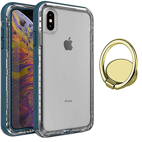 LifeProof Next Series Case for iPhone Xs MAX + Gold Phone Ring Holder Kickstand with Degree Rotation - Bundle- Clear Lake