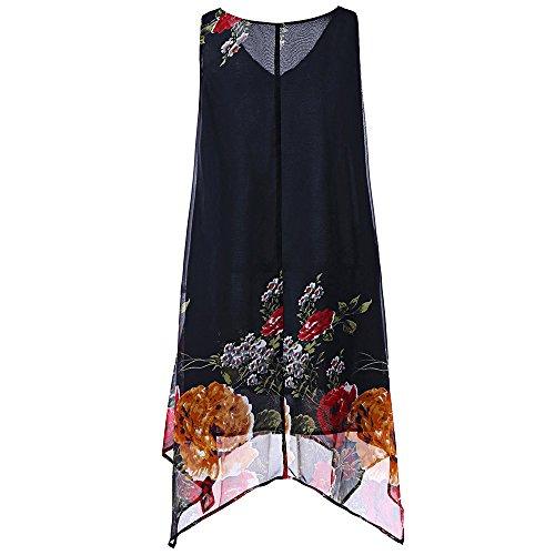 Tosonse Blumendruck Weste Kleider Für Frauen Plus Size Chiffon Ärmellos Unregelmäßiger Rand Minikleid