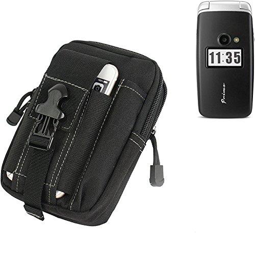 K-S-Trade Gürtel Tasche Für Doro Primo 413 Gürteltasche Holster Schutzhülle Handy Hülle Smartphone Outdoor Handyhülle Schwarz Zusatzfächer