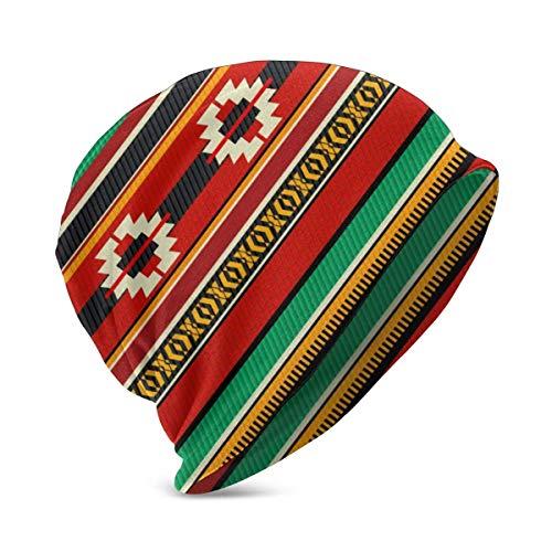 Pizeok Beduinen-Web-Zelt-Teppich Farbige abstrakte Federmütze Turban-Kopfmütze Skullies-Mütze für Strickmütze für Jungen und Mädchen Winterwar