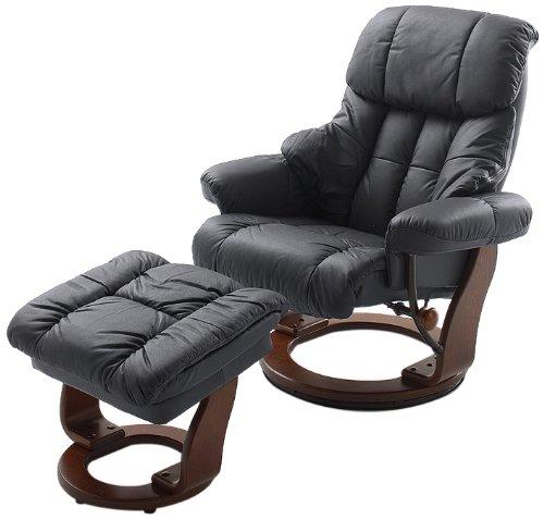 Robas Lund Leder Relaxsessel TV Sessel mit Hocker bis 130 Kg, Fernsehsessel Echtleder schwarz, Calgary, Kunstleder