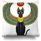 xububaihuodian Egipto alas de Gato Egipcio, Escarabajo, ala de Escarabajo, Cultura Negra, diseño de Elegancia, decoración del hogar, Cuadrada, tamaño 45,7 x 45,7 cm, Funda de Almohada