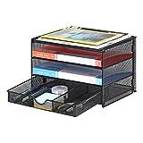 Samstar Briefablage aus Metall, 3 Etagen Dokumentenablage Schreibtisch Organizer Ablagefächer mit 1 Schublade,Schwarz …