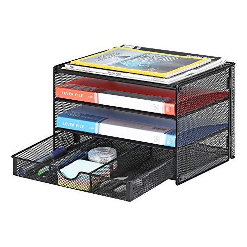 Samstar Caja de papel, 3 niveles de archivo, organizador de documentos de escritorio, estante con cajón corredero, malla Made, color negro