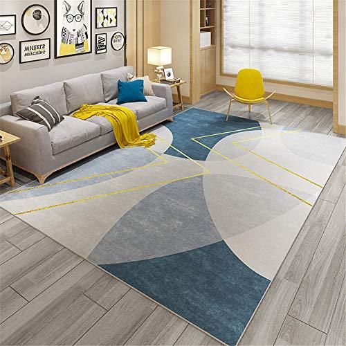 WBDYMX Tapis Tapis Salon Pas Cher de antiderapant Une variété de Tailles, Design Minimaliste Bleu et Jaune, cheminée, Tapis Tapis 160X230CM