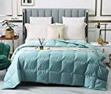 Confibona Lightweight 100% Natural White Goose Down Blanket Comforter for Summer Warm Weather,750Fill Power, Machine Washable,Soft Cotton Shell with No Sound,Size California/Oversized King,Turquoise