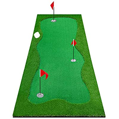 Gracetech Golf Putting Green System Large Professional Golf Practice Training Putting Mat for Indoor/Outdoor Challenging Putter Aid Equipment (3.3x10ft 3Holes)