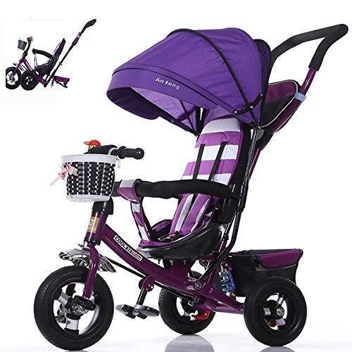 Triciclo Plegable Bicicleta Bebe Evolutivo Bicicleta para Bebes Evolutivo Asiento Giratorio con Parasol y Putter 1-6 año Tricilo para Niños Plegable con Cubierta de Lluvia, Purple