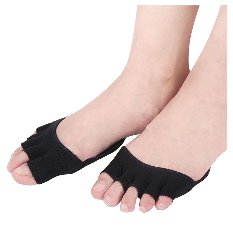 panaco ハイヒールソックス 5本指 クッション付き つま先 足指の摩擦 軽減 脱げにくい レディース セパレーターソックス (ブラック 指なし)