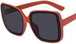 QPRER - Gafas De Sol,Marco Rojo Mujer Gris Gafas De Sol con Montura De Gran Tamaño Gafas De Sol Simples De La Calle Gafas De Sol De Playa para Viajes Al Aire Libre