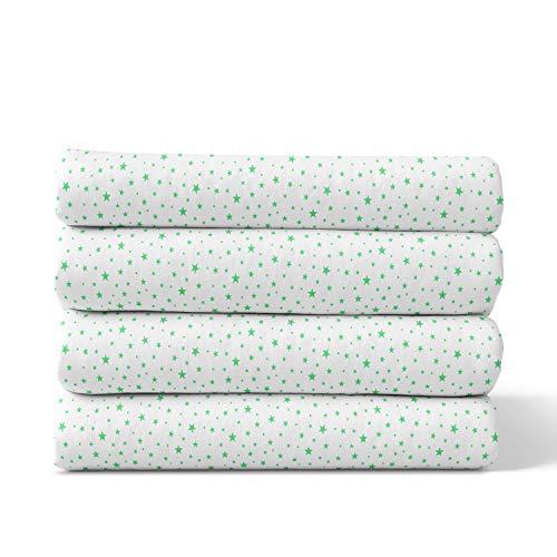 Moltontücher | Baumwolltücher | Spucktücher - 4er Pack | 80x80 cm - grün star | Schadstoffgeprüft - Öko-Tex Standard 100 | Baby Spucktücher | Flanelltücher | Mulltücher