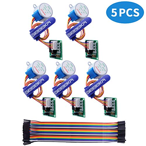 GeeekPi 5 Pack Geared Stepper Motor 28BYJ-48 5V Schrittmotor + Uln2003 Motor Driver Board + Dupont Wire Jumper Wires Ribbon Cables Compatible für Arduino