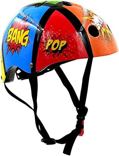 KIDDIMOTO Fahrrad Helm für Kinder - CE-Zertifizierung Fahrradhelm - Design Sport Helm für Skates, Roller, Scooter, laufrad - Comicstrip - M (53-58cm)