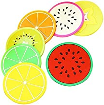 Okayji Fruit Slice Theme Silicone Cup Mat Coaster Set, 7-Pieces, Multicolour