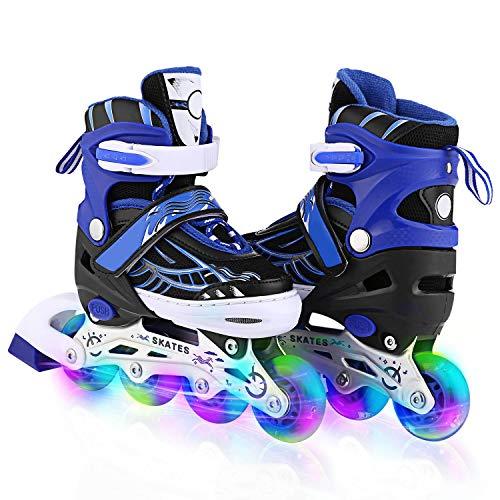 Inline-Skates Rollschuhe für Kinder/Jungen/Mädchen Canvas-Design verstellbar mit leuchtenden PU-Rädern Triple Protection Lightweight Inline-Skates (Blau 3, M: 35-38 EU)