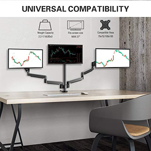 MOUNTUP Triple Monitor Stand Mount - 3 Monitor Desk Mount for Computer Screens Up to 27 inch, Triple Monitor Arm wi   th Gas Spring, Heavy Duty Monitor Stand, Each Arm Holds Up to 17.6 lbs, MU0006