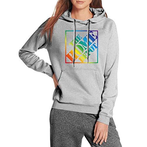 Women Cool Hoodies Sweatshirt The-Home-Depot-Orange-Gay-Pride-Rainbow- with Pocket Gray Hoodie Jacket