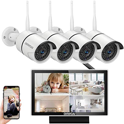 【8CH Expandable.Audio 】 Wireless Security Camera System,8 Channel 1080P NVR Home Surveillance Video Security System,4Pcs Outdoor/Indoor CCTV WiFi Cameras with Audio,1TB Hard Drive House Camera Kit.