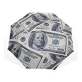 Paraguas de Viaje Un montón de dólares Desordenado Montones Juntos Antivibrantes Compacto 3 Plegado Arte Ligero Paraguas Plegables (impresión Exterior) Lluvia a Prueba de Viento Paraguas de protecció