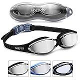 AdePoy - Gafas de natación antivaho, visión Transparente con protección UV, sin Fugas, fáciles de Ajustar, cómodas para Adultos, Hombres, Mujeres, Color Negro y Azul, A-Negro (versión de Espejo)