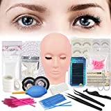 Beuaty Star Professional Lashes Kit False Eyelash Extensions Practice Kit Flat Mannequin Head Lash Extensions for Beginners Makeup Training and Eyelash Graft