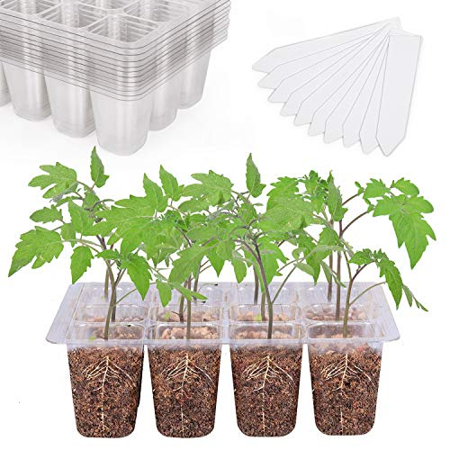 Seedling Starter Trays 144 Cells Transparent Seed Tray Grow Germination Kit with 10 Plant Lables(12 Trays, 12 Cells per Tray, 1.5 inch)