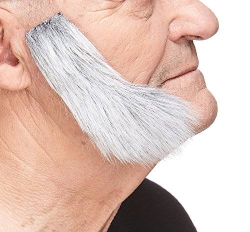 Mustaches Self Adhesive, Novelty, Fake Mutton Chops Sideburns, False Facial Hair, Costume Accessory for Adults, Gray with White Color