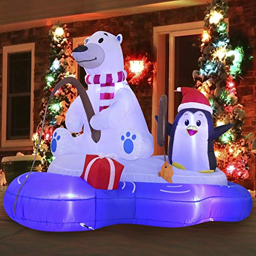 Joiedomi Christmas Inflatable Polar Bear Fishing with Penguin 6 ft with Built-in LEDs Blow Up Inflatables for Christmas Party Indoor, Outdoor, Yard, Garden, Lawn Décor, Holiday Season Decorations