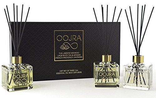 3 Reed Diffusers Aromatherapy Essential Oil Gift Set; Thai Jasmine Bamboo, Laos White Tea & Ginger, French Provence Lavender; Premium Black Reeds, Each Bottle is 2 oz, 6oz Total (Lasts 5+ Months)