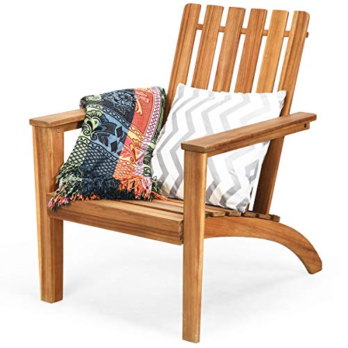 HAPPYGRILL Adirondack Chair Outdoor Acacia Wood Classic Adirondack Armchair Ergonomic Lounge Chair for Poolside Balcony Yard Patio Garden