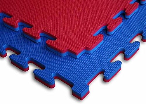 Tatami per Sport di Combattimento - Doppio Strato Professionale - 100x100x4 cm, Rosso/Blu