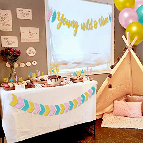Young Wild & Three Party Supplies Gold Glitter Banner Arrow Garland Cake Topper Wild Three Feather Arrow Teepee Cupcake Toppers Latex Balloons for 3rd Birthday Boho Tribal Theme Party Decorations