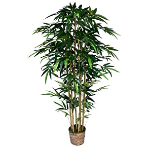 Vintage Home 6 Foot Tall High End Realistic Silk Bamboo Tree with Wicker Basket Planter