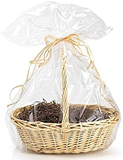 10 Pack BOPP Clear Cello Cellophane Bags Gift Basket Package Flat Gift Bags Cello Bags only No Content Included (27 in X 35 in Round Bottom)