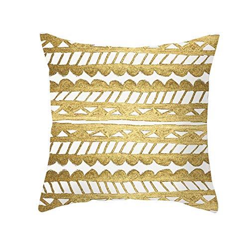 KnBoB Funda Cojin Triángulo de Rayas Onduladas 40 x 40 cm Poliéster Blanco Oro Estilo 28