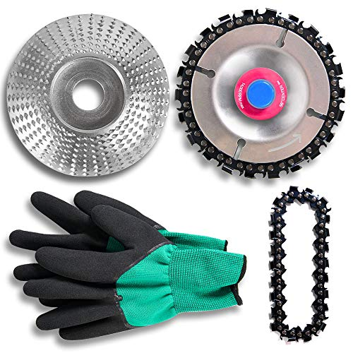 Wood Carving Chain Disc (4 Inch, 22 Teeth, Replacement Chain) & Grinder Shaping Disc (3-5/16' Dia, 5/8' Bore),Double Saw Teeth Shaper, Angle Grinder Attachments for Woodworking with Protective Gloves