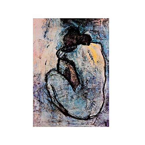 NIEMENGZHEN Wandkunst Blau Akt von Pablo Picasso Gemälde auf Leinwand Cuadros Poster und Drucke Wandbild für Wohnzimmer Dekor 27,5