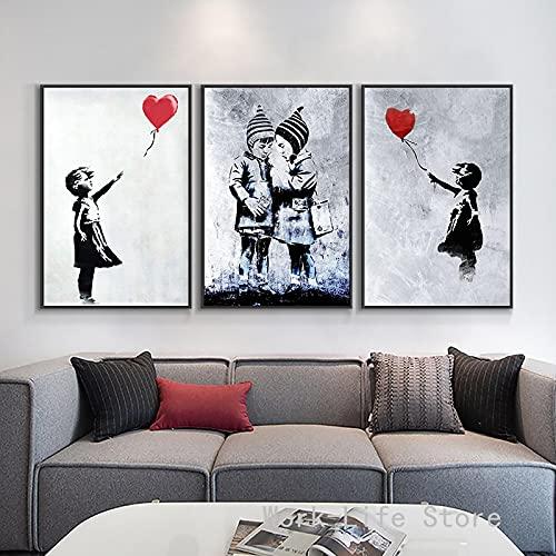 Lienzo Pintura Bansky Graffiti Arte De La Pared Chica Con Globos Carteles E Impresiones ImáGenes De Pared Para La DecoracióN De La Sala De Estar Hogar-50x70cmx3 Sin Marco
