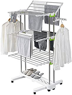 Premium Large Foldable Rolling Clothes Laundry Drying Rack Stainless Steel Heavy Duty Rod - 8 Lockable Casters