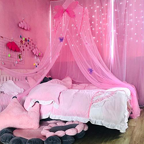 SparY Dosel, Niña Princesa Play Redondo Curvado Colgante Habitación Infantil Malla Cama Lectura Mosquitera Cuna Malla Mariposa Ligero - Rosa, Free Size