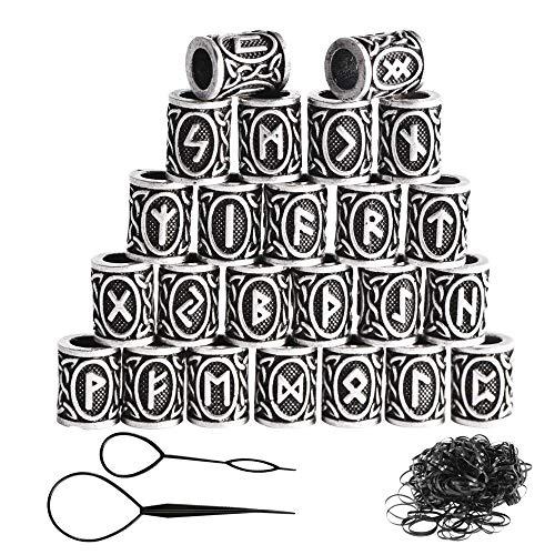 24 piezas de Viking runa perlas y Negro bandas de goma fijaron los accesorios para el collar pulsera de la trenza de bricolaje al por mayor metales cuentas barba cabello con clip para mujeres