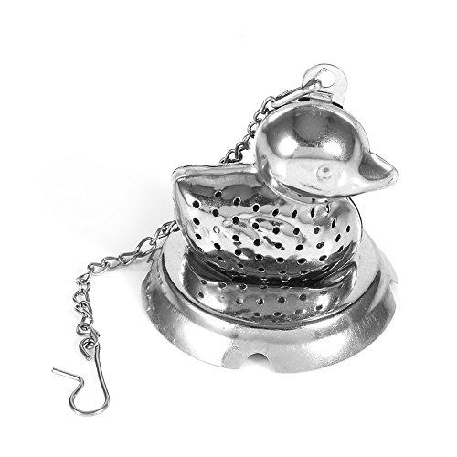 Tee-Ei, Entenform, mit Kugelsieb, langer Kettenhaken