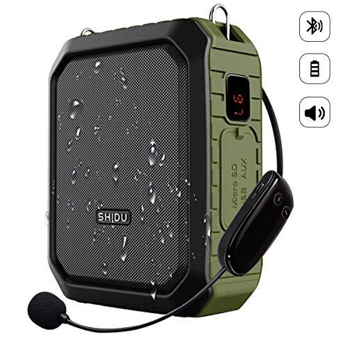 SHIDU Amplificador de voz inalámbrico Bluetooth Profesor Micrófono 18W Impermeable Amplificador de voz portátil Auricular Mic Recargable Mejorador de voz Micrófono personal para aula al aire libre