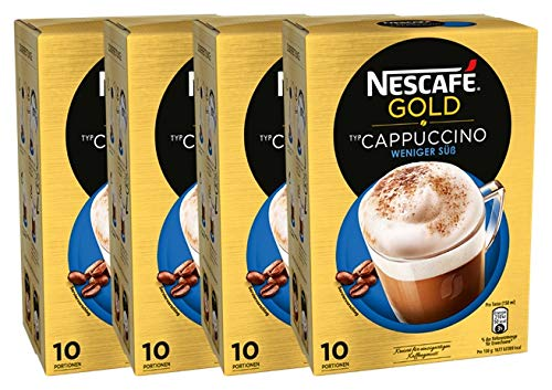 NESCAFÉ Gold Typ Cappuccino Weniger Süß, Getränkepulver aus Instant-Bohnenkaffee & Kaffeeweißer, lösliche Kaffee-Sticks, 4er Pack (à 10 x 12,5 g Sticks)