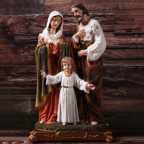 Zenghh Christ Holy Family Figurine Childhood Jesus And Madonna Queen St. Joseph Statue Gospel Advent Preacher Believer Ornaments Catholic Protestant Chapel Home Garden Art Deco Giant 32cm