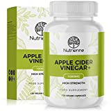 Apple Cider Vinegar + by Nutrienne | High Strength | 1000mg | Made in UK | Vegan Friendly Capsules | Natural-Source Ingredients for Weight Management and Digestion Support | Premium Quality Supplement