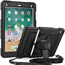 iPad 6th/5th Generation Case with Screen Protector | Herize iPad Air 2 Case for Kids | Heavy Duty Shockproof Rugged Protective Cover with 360 Rotating Stand/Hand Soulder Strap for iPad 9.7 Inch