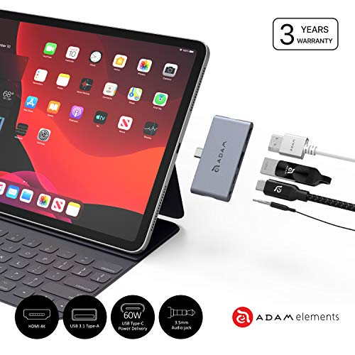 Adam Elements CASA Hub i4 - USB-C 4-in-1 Hub für iPad Pro (3rd generation) - Grau