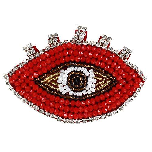 EMDOMO Handgemachte Perlen Red Eye Diamond Patches Aufnäher für Kleidung, Taschen, Schuhe, Broschen, Nähzubehör, 2 Stück
